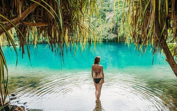 woman in jamaican lagoon